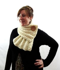 Cream White Chunky Knit Ribbed Cowl Scarf with Tan Brown Button by LaurasLovelyKnits