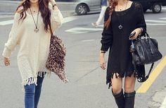 Fashion loose long-sleeved sweater dress AX100301ax
