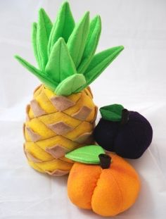 Pic only...Felt (Pineapple, Peach, Plum, Apple, Orange, Grapes). $6.00 USD, via Etsy.    LOVE the pineapple!