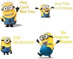 eid mubarak very funny cool humor lol fun whatsapp funny picture minions Eid Mubarak Quotes 2014 Greetings Wishes Blessings Minions 1, Minions Love, My Minion, Minions Quotes, Eid Mubarak Quotes, Eid Quotes, Jokes Quotes, Arabic Quotes, Memes