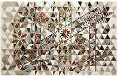 Monir Farmanfarmaian, detail of Gabbeh, 2009, mirror, reverse-glass painting and plaster on wood, 93 x 150 cm. From Islamic Arts Magazine.