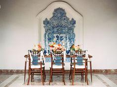 Vintage Spanish inspired wedding tablecape
