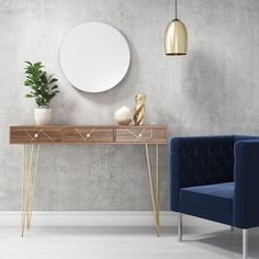 Tahlia Wood Console Table with Harpin Legs & Storage Drawers - Brass Inlay Detailing. #consoletable #consoles #hallwaydecor #hallwayinspiration #hallway #entrance #golddetail