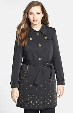MICHAEL Michael Kors Grommet Detail Trench Coat (Plus Size) available at #Nordstrom