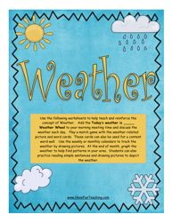 Using this Weather Activity, students match weather picture and vocabulary cards to build their knowledge of weather conditions. Earth Science Activities, Science Resources, Science Lessons, Science Projects, What's The Weather Today, Weather Song, Weather Unit, Weather Calendar, Calendar Time