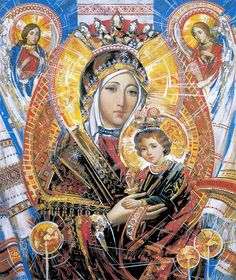 Fifth Glorious Mystery - The Coronation of Mary as Queen of Heaven and Earth Santa maria, prega per il popolo Ukraino. Blessed Mother Mary, Blessed Virgin Mary, Religious Icons, Religious Art, La Madone, Images Of Mary, Queen Of Heaven, Mama Mary, Photo Images