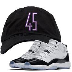 f5f6eb6df28 Jordan 11 Concord 45 Sneaker Matching 45 Logo Black Distressed Dad Hat