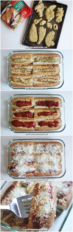 CHICKEN PARM SUB BAKE recipe- Such a great idea for a party! Just minutes of prep for enough to feed a crowd!