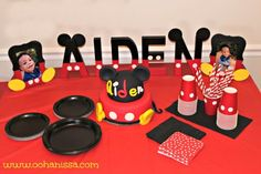 Mickey Mouse Birthday Party Ideas at www.oohanissa.com Mickey 1st Birthdays, Mickey Mouse Baby Shower, Mickey Mouse Clubhouse Birthday Party, Mickey Mouse Parties, Mickey Birthday, Mickey Party, 1st Boy Birthday, First Birthday Parties, Minnie Mouse