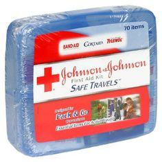 """Johnson & Johnson First Aid Kit, Safe Travels (Pack of 2) by J Red Cross. $13.18. Portable & organized out of the home first aid. Over 40 items! Organized Case - Keeps items accessible & in place. Clean:6-Johnson & Johnson Cleansing Wipes. Treat:4- Band-Aid brand First Aid Antibiotic Ointment Net wt. .03 oz. (.89g. Protect:15-Band-Aid Brand Adhesive Bandages 5/8 x 2 1/4"""" (1.5 cm x 5.7cm). 8- Band-Aid Brand Spots Adhesive Bandages 7/8""""x7/8"""" (2.2cmx2.2cm). 8- Johnson &..."""