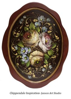 From our book A Palette of Flowers. Paint It Simply. Oil Painting Flowers, Tole Painting, Painting & Drawing, Decorative Painting Projects, Norwegian Rosemaling, Painted Trays, Russian Art, Vintage Roses, Folk Art