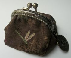 Metal Frame Coin Purse - Dragonfly Print -  Pouch -  Bags and Purses - Brown - purse - Change Purse - Dragonfly-Accessories