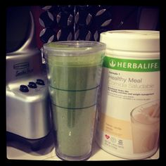 2 scoops HERBALIFE Vanilla Healthy Meal, 1 cup of fresh spinach, 1/2 frozen banana,  1/2 green apple w peal ...YUMMO!!!