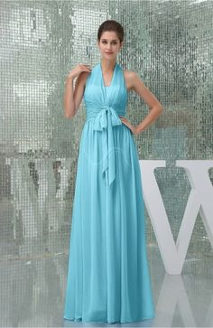 Turquoise Evening Dress - Plain A-line Halter Sleeveless Backless Chiffon