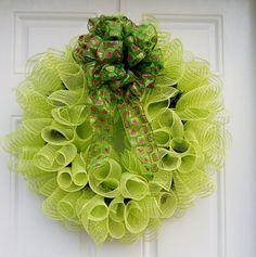 Lime Green Spiral Holiday Mesh Wreath by dottiedot05 on Etsy,