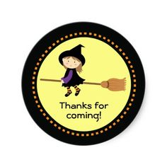 Personalized Flying Witch Halloween Stickers  #favors #essentials #halloween #party #sticker #stickers #custom #theme