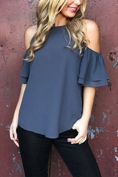 Blue Layered Cold Shoulder Button Hole Top