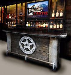 SOLD OUT home bar custom hand built rustic whiskey, pub, man cave, barn U-Ship. Built to order. Man Cave Barn, Man Cave Diy, Man Cave Home Bar, Man Cave Garage, Custom Home Bars, Bars For Home, Custom Homes, Mobile Bar, Jim Beam