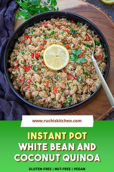 Instant Pot Coconut Quinoa And White Bean Salad is packed with fresh ingredients that will leave you craving for more! A perfect on-the-go pilaf that can be enjoyed hot or cold #instantpotrecipes #quinoarecipes #veganrecipes #whatsfordinner #glutenfree Bean Salad, Gluten Free Recipes For Breakfast, Dinner Recipes, Easy One Pot Meals, Easy Dinners, Delicious Vegan Recipes, Healthy Recipes, Quinoa Gluten Free