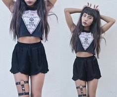 Get this look: http://lb.nu/look/8122630  More looks by Amanda Ikoma: http://lb.nu/amandaikoma  Items in this look:  Happy Monday Dark Kawaii Top, Wear Ever Black Shorts   #gothic #kawaii #punk #goth #black #cute #dark