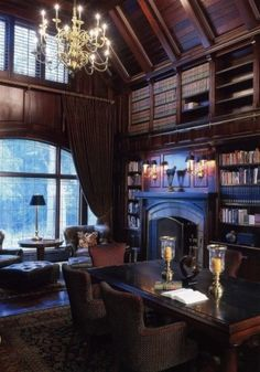 Home Library- Wow! Floor to ceiling wood work, sliding ladder. Love the dark, rich wood. Bookcases galore!