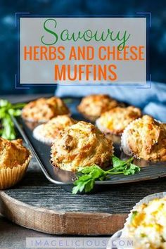 These Herbs and Cheese Muffins are perfect to eat in the morning or snack during the day. These savoury muffins are great for picnics or as an addition to a bread basket. Serve them with some compound butter and smoked salmon for a delicious brunch   imagelicious.com #muffins #cheesemuffins #savorymuffins #brunch #mothersday