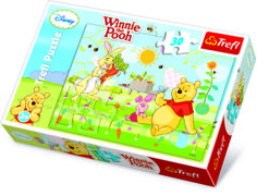 """Winnie the Pooh"""" Puzzle 30 Teile. Die Abenteuer des liebenswert-tapsigen Bär Winnie Pooh und seinen Freunden begeistern kleine Kinder seit Generationen. Das bunte Puzzle besteht aus 30 Teilen, und mit ein bisschen Geschick und Unterstützung schaffen das schon Dreijährige. Winnie Pooh ist außerdem ein beliebtes Geschenk zum Kindergeburtstag. Puzzle: ca. 27 x 20 cm"""