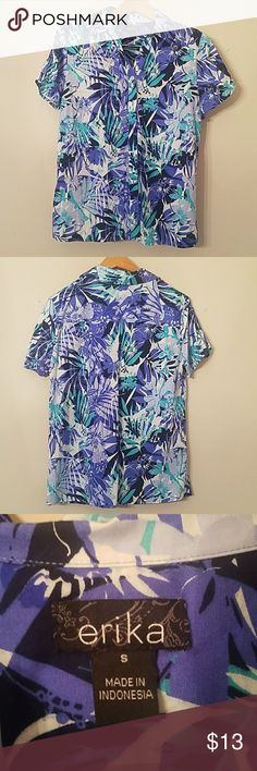 Blue, Teal Hawaiian Button-down Short-sleeve Soft Blue, Teal Hawaiian Button-down Short-sleeve, worn once for a themed rehearsal dinner. erika Tops Button Down Shirts
