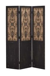 Traditional Wood Metal Three Panel Screen in a Rustic Design Room Divider Decorative Folding Screen