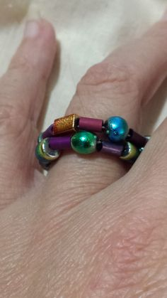 Iridescent Metallic Bead Memory Wire Ring by CopperDoxieDesigns