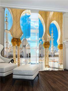 Fotogardine  Arabische Palast  Fotodruck 3D. Höhe:2,45m. Breite:2,90 (2x1,45)