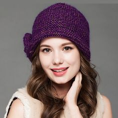 Warm wool beanie hat for women flower decoration knit winters