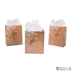 Medium Gold/White Wedding Gift Bags