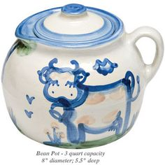 We use it for cookies, not beans. The lid makes just the right amount of noise so you know when someone is sneaking into the cookie jar. Hadley Pottery just makes me smile.