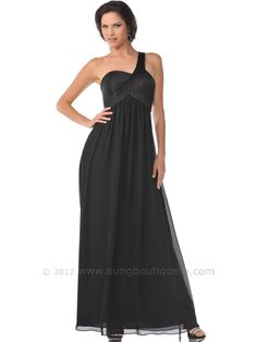 One Shoulder Empire Waist Evening Dress. Get yours today at www,SungBoutiqueLA.com