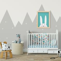 Every baby needs a bunny print and this one comes in multiple styles to sui Baby Boy Rooms, Baby Boy Nurseries, Baby Room, Nursery Room, Kids Bedroom, Nursery Decor, Nursery Ideas, Green Furniture, Kid Beds