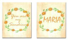 You are my Sunshine Custom Name Art,  Nursery Decor, Nursery Wall Art, SET OF 2 Prints, Kids Decor, Kids Wall Art, Sunshine, Nursery Prints on Etsy, $32.11 AUD