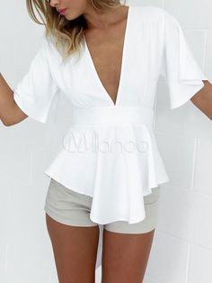 White Peplum Top Low Cut Backless Bow Spandex Blouse For Women