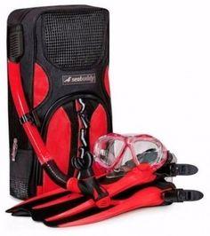 Swimming Diving Snorkel Set w/Travel Gear Bag Small/Medium Size Swim Snorkeling  #SealBuddy
