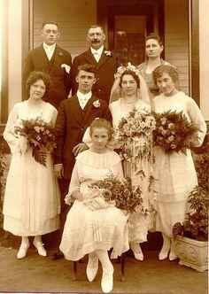 +~+~ Antique Photograph ~+~+  Wedding party, 1910s.