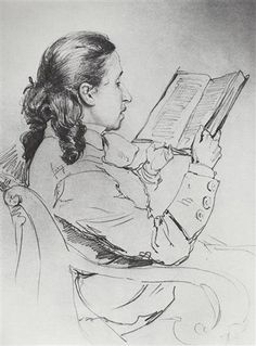 Ilya Repin, Portrait of E.G. Mamontova reading, 1879