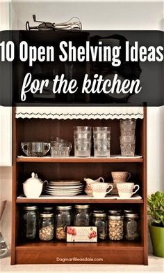 I love the idea of open shelving in the kitchen. I wrote a whole post with open shelving pictures and ideas so you can make a decision if they are for you. Rustic Home Interiors, Shabby Chic Interiors, Cheap Home Decor, Diy Home Decor, Open Shelving, Shelves, Shelving Ideas, Cheap Bathrooms, Hallway Decorating