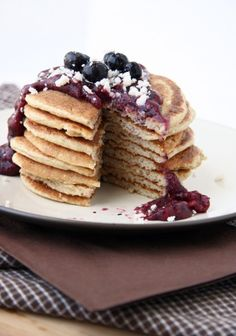 high protein oatmean pancakes with mixed berry chia jam