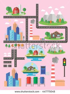 City life in vector. Build your city using urban elements. Various elements of the city: houses, trees, roads and others.