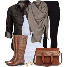 "Riding  Boots and Anthology Tote with a Fabulous Scarf!                                                          OOTD"" by wishlist123 on Polyvore"