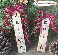 Personalized Ornament, Personalized Scrabble Ornament , Package Tie-On , Stocking Stuffer, Co-Worker Gift by WinterberryOriginals on Etsy https://www.etsy.com/listing/84479164/personalized-ornament-personalized