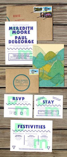 Roller Coaster Wedding Invitation - letterpress and screenprint