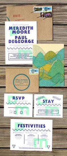 Roller Coaster Wedding Invitation - letterpress and screenprint