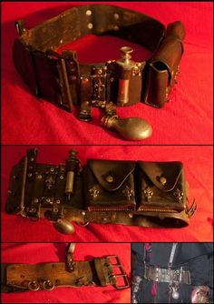 steampunk utility belt -easily built from belt and purse pouches & straps…