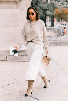 Beige sweater, cream culottes, beige cap toe boots, metallic clutch - Fashion, women's fashion, fashion 2018, fashion trends 2018, spring outfit, fall outfit, spring fashion 2018, fall fashion 2018, work outfit, wear to work, all white outfit, neutrals outfit, street style, fashion week 2018, fashion week outfit, chanel boots.